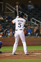 Salt River Rafters Jake McCarthy (5), of the Arizona Diamondbacks organization, at bat during an Arizona Fall League game against the Mesa Solar Sox on September 19, 2019 at Salt River Fields at Talking Stick in Scottsdale, Arizona. Salt River defeated Mesa 4-1. (Zachary Lucy/Four Seam Images)