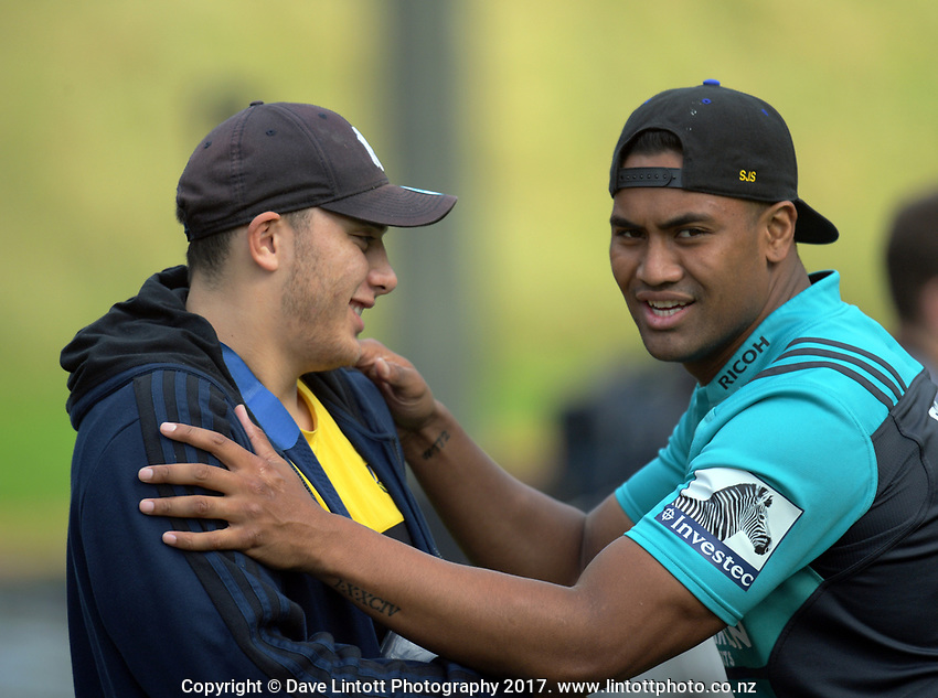 Peter Umaga-Jensen and Julian Savea. Hurricanes rugby union training at Rugby League Park in Wellington, New Zealand on Wednesday, 19 April 2017. Photo: Dave Lintott / lintottphoto.co.nz