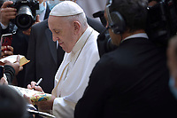 Pope Francis public audience at the San Damaso courtyard in The Vatican on June 9, 2021.