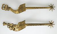 Pair of Rowel Spurs, ca. 1401–1500.<br /> <br /> Copper, gold, 25 cm.<br /> Inv. Nr. 14.25.1705a,<br /> New York, Metropolitan Museum of Art.