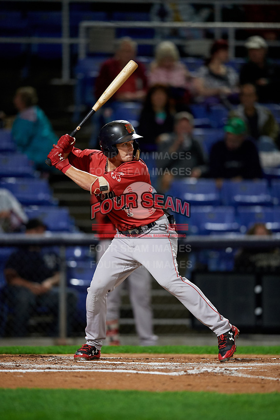 Portland Sea Dogs center fielder Tate Matheny (7) at bat during a game against the Binghamton Rumble Ponies on August 31, 2018 at NYSEG Stadium in Binghamton, New York.  Portland defeated Binghamton 4-1.  (Mike Janes/Four Seam Images)
