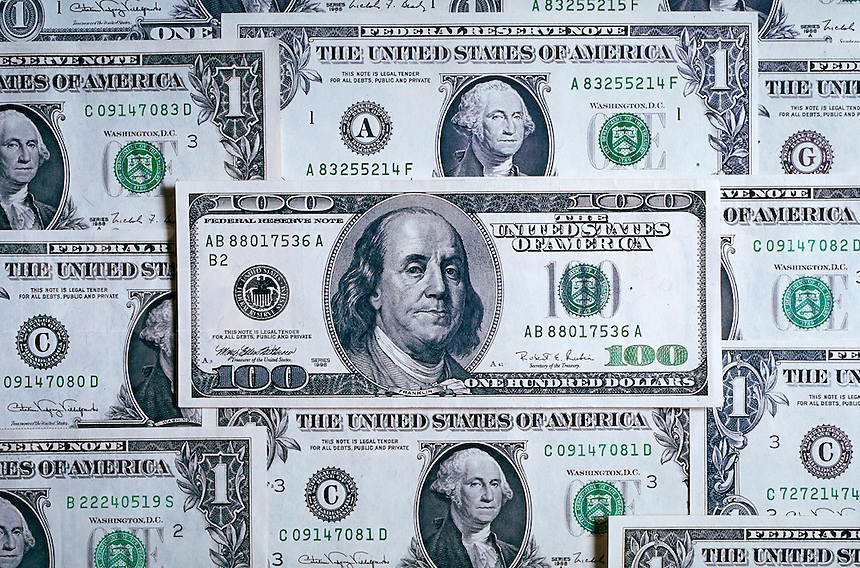 U.S. currency, new and old dollar bills