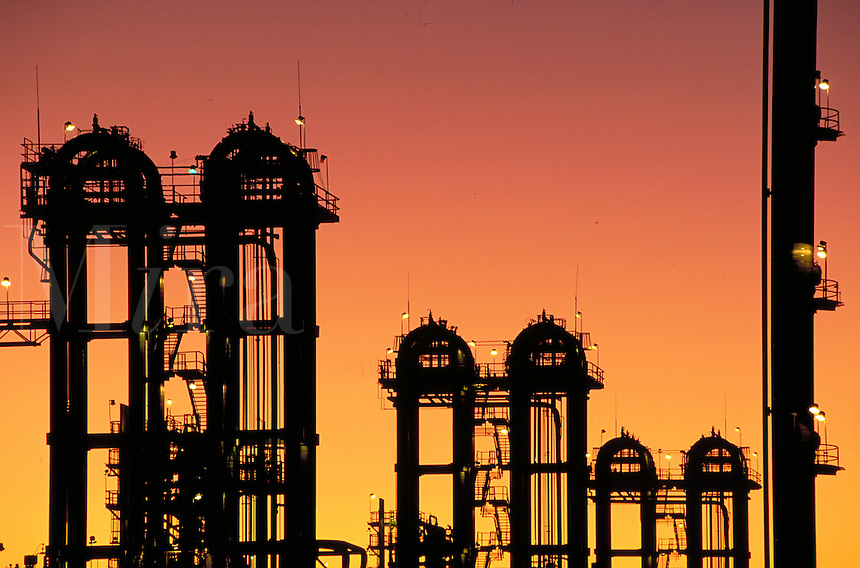 Petrochemical plant at dusk, Bayport industrial district. Houston Texas.