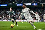 Real Madrid's Sergio Ramos and Real Sociedad's Aritz Elustondo during La Liga match between Real Madrid and Real Sociedad at Santiago Bernabeu Stadium in Madrid, Spain. January 06, 2019. (ALTERPHOTOS/A. Perez Meca)<br />  (ALTERPHOTOS/A. Perez Meca)