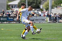 Ben Mata of Team Wellington competes for the ball with Riley Bidois of the Wellington Phoenix during the ISPS Handa Men's Premiership - Wellington Phoenix v Team Wellington at Fraser Park, Wellington on Saturday 14 November 2020.<br /> Copyright photo: Masanori Udagawa /  www.photosport.nz