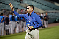 Congressman Ross Spano waves to the crowd after singing the national anthem before a Florida State League game between the Tampa Tarpons and Lakeland Flying Tigers on April 5, 2019 at Publix Field at Joker Marchant Stadium in Lakeland, Florida.  Lakeland defeated Tampa 5-3.  (Mike Janes/Four Seam Images)