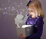 USA, Illinois, Metamora, Girl (6-7) opening gift box