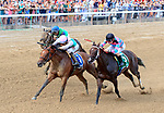 Paulassilverlining (no. 3) wins the Grade II 2017 Honorable Miss Handicap for fillies and Mares three years old and up on July 26 at Saratoga Race Course, Saratoga Springs, NY.  The winner, ridden by Jose Ortiz and trained by Chad Brown, held off Finley'sluckycharm by a neck in the 6 furlong race.  (Bruce Dudek/Eclipse Sportswire)