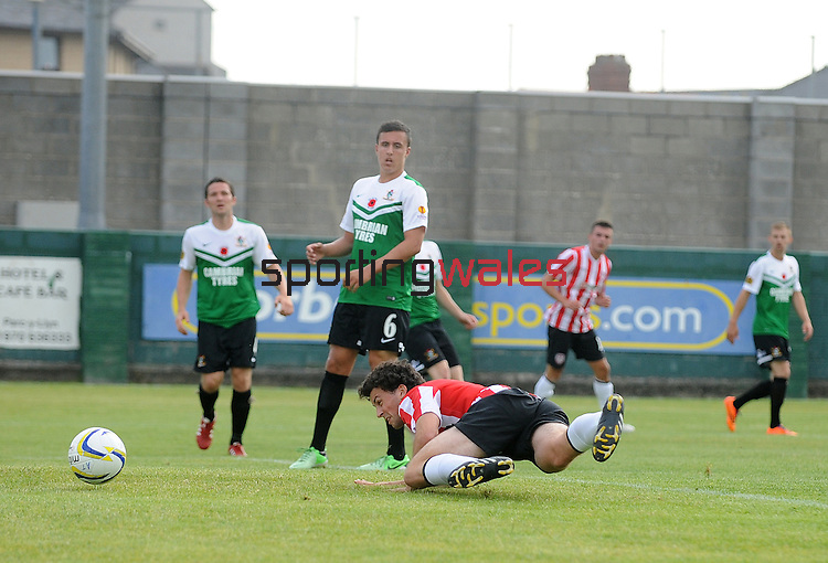 10 July 2014; Barry McNamee, Derry City, scores his sides second goal , Aberystwyth Town. UEFA Europa League First Qualifying Round, Second Leg, Aberystwyth Town v Derry City. Park Avenue, Aberystwth, Wales. Picture credit: Ian Cook / SPORTINGWALES