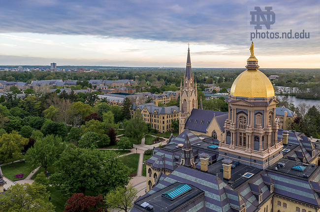 May 20, 2020; Campus aerial looking southwest (Photo by Matt Cashore/University of Notre Dame)