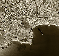 historical aerial photograph Santa Cruz, California, 1952