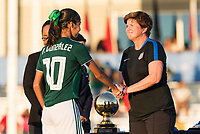 Bradenton, FL - Sunday, June 12, 2018: CONCACAF awards, Alison Gonzalez, April Heinrich during a U-17 Women's Championship Finals match between USA and Mexico at IMG Academy.  USA defeated Mexico 3-2 to win the championship.