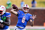 Southern Methodist Mustangs quarterback Ben Hicks (8) in action during the game between the North Texas Mean Green and the SMU Mustangs at the Gerald J. Ford Stadium in Fort Worth, Texas.