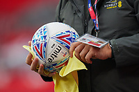 A match ball is sanitised during the Sky Bet League 2 PLAY-OFF Final match between Exeter City and Northampton Town at Wembley Stadium, London, England on 29 June 2020. Photo by Andy Rowland.