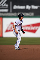 Inland Empire 66ers first baseman Jordan Zimmerman (5) takes a lead off second base during a California League game against the Lancaster JetHawks at San Manuel Stadium on May 20, 2018 in San Bernardino, California. Inland Empire defeated Lancaster 12-2. (Zachary Lucy/Four Seam Images)