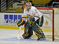 14 November 2008: University of Vermont Catamount goaltender John Vazzano, a Freshman from Trumbull, CT, warms up prior a game against the Northeastern University Huskies at Gutterson Fieldhouse in Burlington, Vermont. The Catamounts fell to the Huskies 5-3...Mandatory Photo Credit: Ed Wolfstein Photo