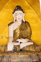 Thailand, Mae Hong Son. Wat Chong Klang Buddhist Monastery. Buddha.