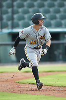 Jesse Medrano (10) of the West Virginia Power hustles down the first base line against the Kannapolis Intimidators at Kannapolis Intimidators Stadium on July 25, 2018 in Kannapolis, North Carolina. The Intimidators defeated the Power 6-2 in 8 innings in game one of a double-header. (Brian Westerholt/Four Seam Images)