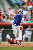 St. Lucie Mets left fielder Tim Tebow (15) takes a warmup swing in the top of the sixth inning during a game against the Florida Fire Frogs on July 23, 2017 at Osceola County Stadium in Kissimmee, Florida.  St. Lucie defeated Florida 3-2.  (Mike Janes/Four Seam Images)