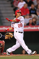 Alexi Amarista #28 of the Los Angeles Angels bats against the Atlanta Braves at Angel Stadium in Anaheim,California on May 21, 2011. Photo by Larry Goren/Four Seam Images
