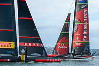 15th March 2021; Waitemata Harbour, Auckland, New Zealand;  Emirates Team New Zealand catches up and overtakes Luna Rossa Prada Pirelli Team after they fall off their foils. Race eight on day five of the America's Cup presented by Prada