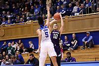 DURHAM, NC - NOVEMBER 17: Lindsey Pulliam #10 of Northwestern University shoots over Leaonna Odom #5 of Duke University during a game between Northwestern University and Duke University at Cameron Indoor Stadium on November 17, 2019 in Durham, North Carolina.