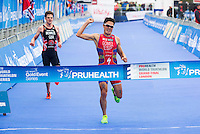 15 SEP 2013 - LONDON, GBR - Javier Gomez (ESP) (right) of Spain out sprints Jonathan Brownlee (GBR) (left) of Great Britain to win the elite men's ITU 2013 World Triathlon Series Grand Final and the series in Hyde Park in London, Great Britain (PHOTO COPYRIGHT © 2013 NIGEL FARROW, ALL RIGHTS RESERVED)
