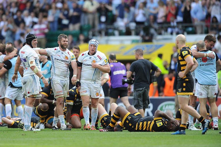 Mitch Lees, Geoff Parling and Thomas Waldrom of Exeter Chiefs celebrate victory in the Premiership Rugby Final at Twickenham Stadium on Saturday 27th May 2017 (Photo by Rob Munro)