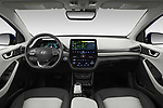 Stock photo of straight dashboard view of 2020 Hyundai Ioniq-Electric Limited 5 Door Hatchback Dashboard