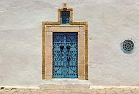 Tunisia, Sidi Bou Said.  Blue and white are the traditional colors of the houses of Sidi Bou Said.