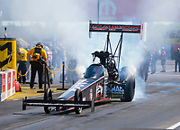 Sep 5, 2020; Clermont, Indiana, United States; NHRA top fuel driver Steve Torrence drives a dragster with the body panels from the car of injured racer Dom Lagana during qualifying for the US Nationals at Lucas Oil Raceway. Mandatory Credit: Mark J. Rebilas-USA TODAY Sports