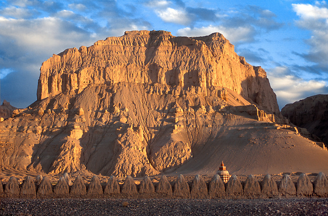 Rows of eroding GUGE STYLE CHORTENS at THOLING MONASTERY built by RINCHEN ZANGPO in the 11th Century - TIBET