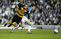 19/03/2008    Copyright Pic: James Stewart.File Name : sct_jspa13_rangers v partick.MARK ROBERTS AND CARLOS CUELLAR CHALLENGE FOR THE BALL.James Stewart Photo Agency 19 Carronlea Drive, Falkirk. FK2 8DN      Vat Reg No. 607 6932 25.Studio      : +44 (0)1324 611191 .Mobile      : +44 (0)7721 416997.E-mail  :  jim@jspa.co.uk.If you require further information then contact Jim Stewart on any of the numbers above........