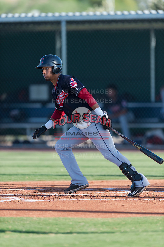 AZL Indians 1 first baseman Miguel Jerez (26) starts down the first base line during an Arizona League game against the AZL Cubs 1 at Sloan Park on August 27, 2018 in Mesa, Arizona. The AZL Cubs 1 defeated the AZL Indians 1 by a score of 3-2. (Zachary Lucy/Four Seam Images)