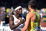 12 JUNE 2015: Omar Leonard of Arkansas celebrates with Jonathan Cabral of Oregon after winning the NCAA Championship in the Men's 110 meter hurdles during the Division I Men's and Women's Outdoor Track & Field Championship held at Hayward Field in Eugene, OR. Leonard won the race in a time of 13.01. Steve Dykes/ NCAA Photos