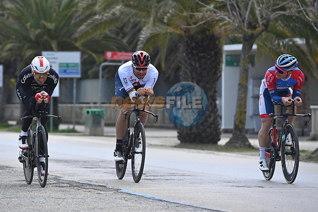 Elia Viviani (ITA) Cofidis and World Champion Filippo Ganna (ITA) Ineos Grenadiers recon Stage 7 of Tirreno-Adriatico Eolo 2021, an individual time trial running 10.1km around San Benedetto del Tronto, Italy. 16th March 2021. <br /> Photo: LaPresse/Marco Alpozzi | Cyclefile<br /> <br /> All photos usage must carry mandatory copyright credit (© Cyclefile | LaPresse/Marco Alpozzi)