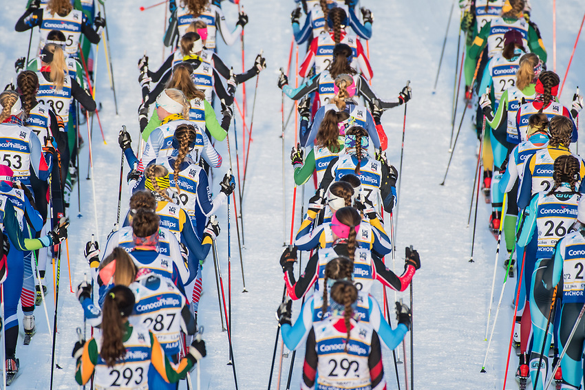 The start of the Junior Women's 5K Classic during the 2018 U.S. National Cross Country Ski Championships at Kincaid Park in Anchorage.