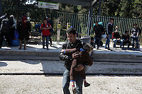 Pictured: Refugees arrive at the Helliniko camp Friday 26 February 2016<br />Re: Refugees have been turning up at the Helliniko refugee camp in the outskirts of Athens, Greece.
