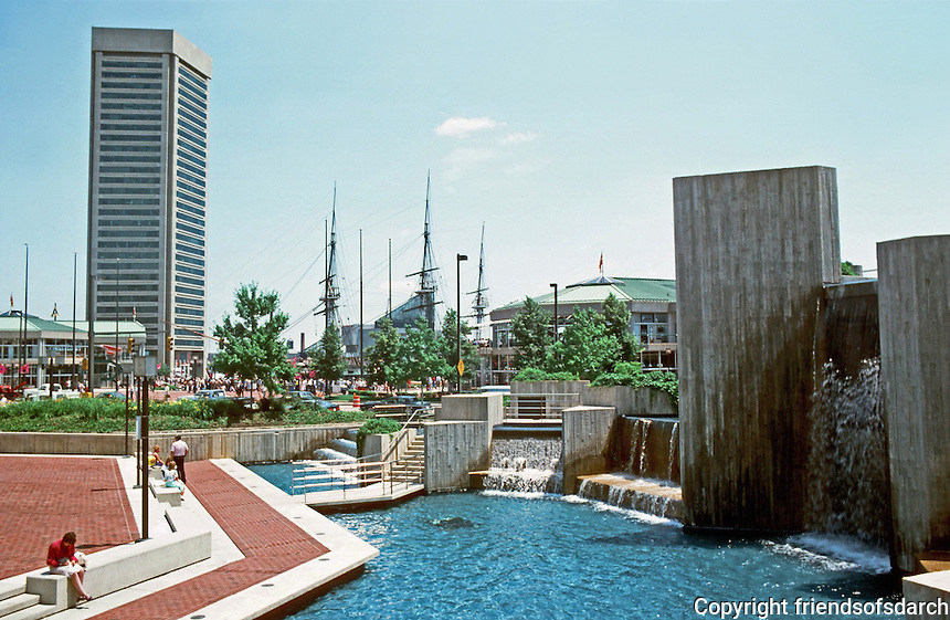 Baltimore:  #1.  Inner Harbor--General Sam Smith Park, World Trade Center (left background).  Photo '85.