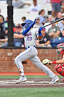 Kingsport Mets Christopher Pujols (23) swings at a pitch during a game against the Johnson City Cardinals at TVA Credit Union Ballpark on June 28, 2019 in Johnson City, Tennessee. The Cardinals defeated the Mets 7-4. (Tony Farlow/Four Seam Images)