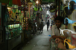 Bazzar in the Paharganj district of New Delhi, India.