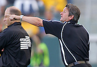 LA Galaxy head coach Frank Yallop gives directions to his players during a MLS match. The LA Galaxy beat Real Salt Lake 3-2 at the Home Depot Center in Carson, California, Sunday, June 17, 2007.