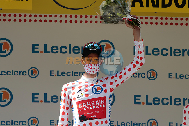 Wout Poels (NED) Bahrain Victorious takes over the mountains Polka Dot Jersey at the end of Stage 15 of the 2021 Tour de France, running 191.3km from Céret to Andorre-La-Vieille, Andorra. 11th July 2021.  <br /> Picture: Colin Flockton | Cyclefile<br /> <br /> All photos usage must carry mandatory copyright credit (© Cyclefile | Colin Flockton)
