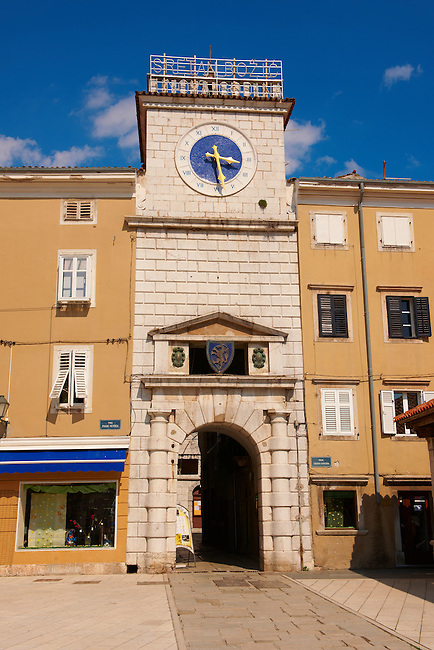 Venetian clock tower gate in Cres Town, Cres Island, Croatia