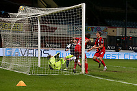 27th March 2021; Dens Park, Dundee, Scotland; Scottish Championship Football, Dundee FC versus Dunfermline; Danny Mullen of Dundee scores an equaliser to level the score at 2-2 in the 54th minute
