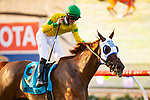 DEL MAR,CA-SEPTEMBER 01: Vasilika #9,ridden by Flavien Prat, wins the John C. Mabee Stakes at Del Mar Race Track on September 1,2018 in Del Mar,California (Photo by Kaz Ishida/Eclipse Sportswire/Getty Images)