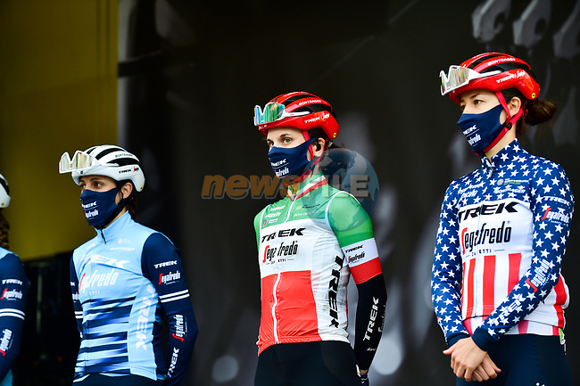 Lucinda Brand (NED), Italian Champion Elisa Longo Borghini (ITA) and US Champion Ruth Winder (USA) Trek-Segafredo at sign on before the 2021 Flèche-Wallonne Femmes, running 130.2 km from Huy to Huy, Belgium. 21st April 2021.  <br /> Picture: A.S.O./Gautier Demouveaux | Cyclefile<br /> <br /> All photos usage must carry mandatory copyright credit (© Cyclefile | A.S.O./Gautier Demouveaux)