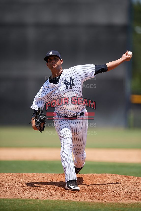GCL Yankees West relief pitcher Argelis Herrera (5) delivers a pitch during a game against the GCL Yankees East on August 8, 2018 at Yankee Complex in Tampa, Florida.  GCL Yankees West defeated GCL Yankees East 8-4.  (Mike Janes/Four Seam Images)