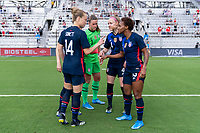 ORLANDO, FL - FEBRUARY 21: Emily Sonnett #14, Abby Dahlkemper #7, Alyssa Naeher #1, Becky Sauerbrunn #4 and Crystal Dunn #19 of the USWNT huddle during a game between Brazil and USWNT at Exploria Stadium on February 21, 2021 in Orlando, Florida.