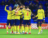 28th September 2021; Cardiff City Stadium, Cardiff, Wales;  EFL Championship football, Cardiff versus West Bromwich Albion; West Bromwich Albion players celebrate after going 0-2 up in the 56th minute